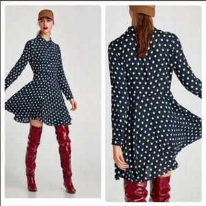 Zara Long Sleeve Button Front Geometric Dress